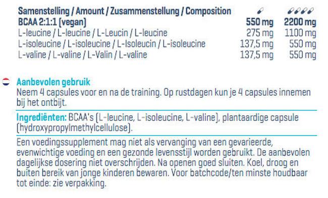 BCAA Kapseln Nutritional Information 1