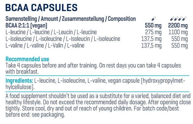 BCAA Kapseln Nutritional Information 3