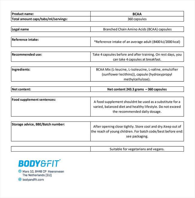 BCAA Kapseln Nutritional Information 4