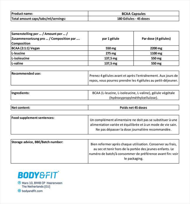 BCAA Kapseln Nutritional Information 5