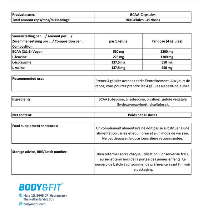 BCAA Capsules Nutritional Information 1