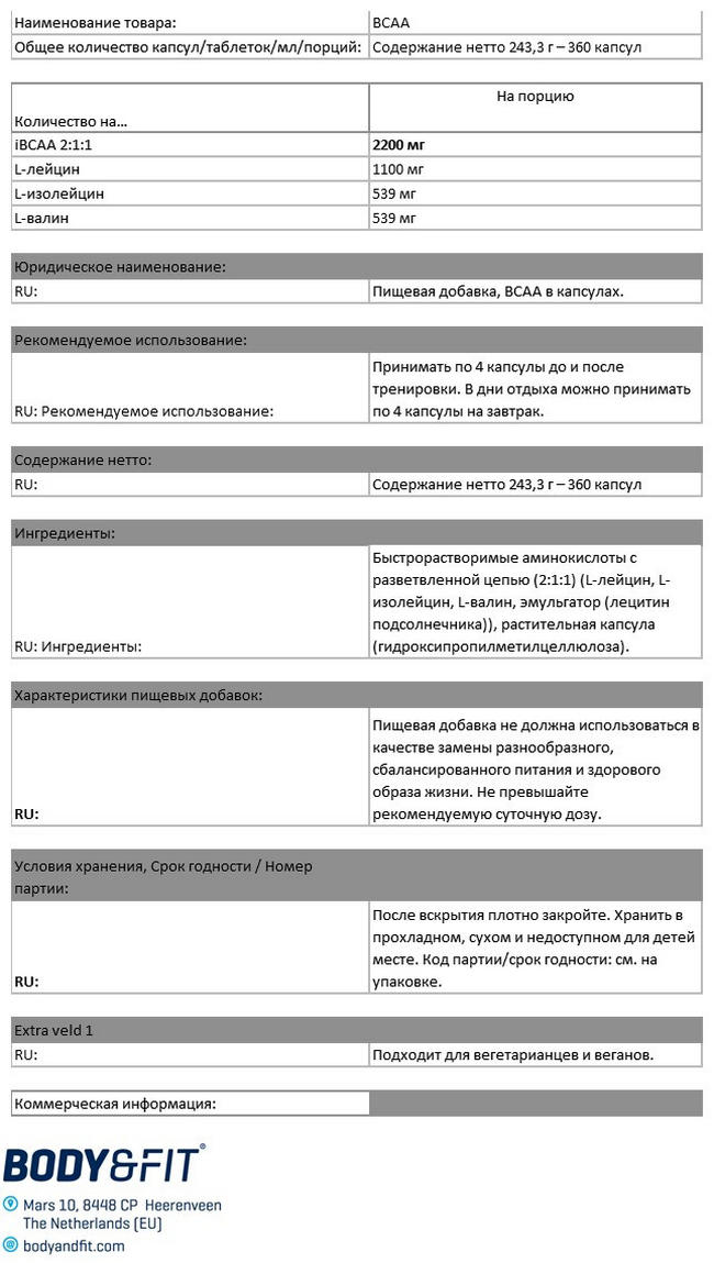 Капсулы БЦАА Nutritional Information 1