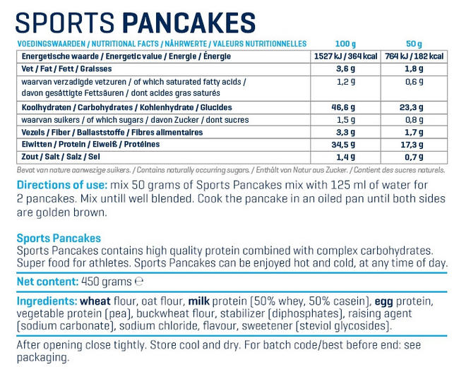 Sports Pancakes Nutritional Information 2