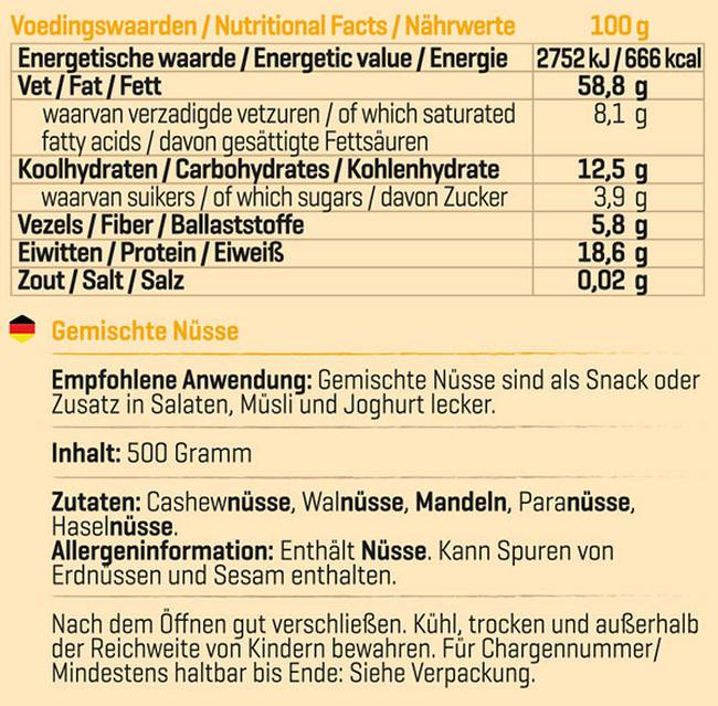 Pure Nussmix Nutritional Information 1
