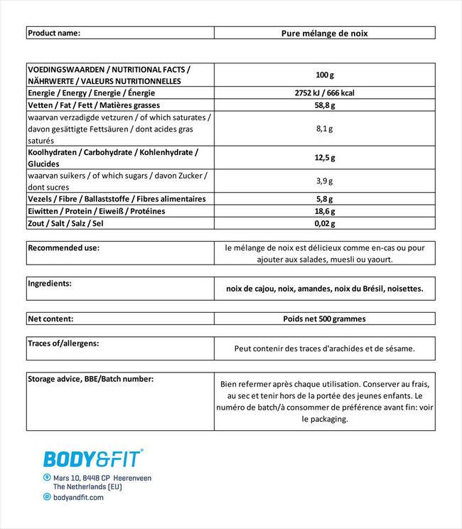 Pure mélange de noix Nutritional Information 1