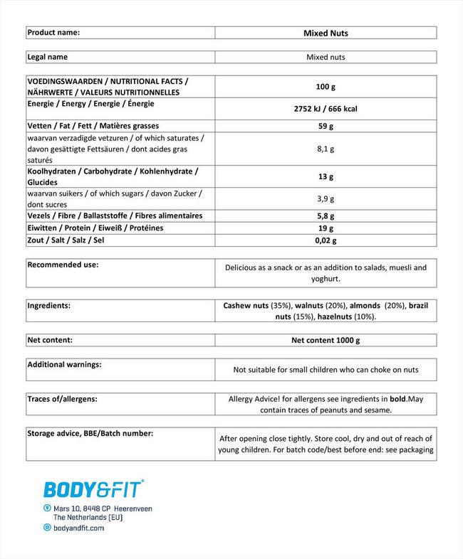 ピュア ミックスナッツ Nutritional Information 1