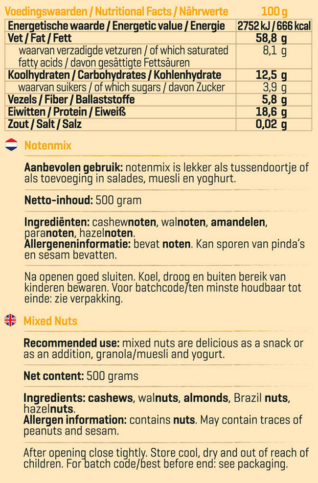 Pure Notenmix Nutritional Information 1
