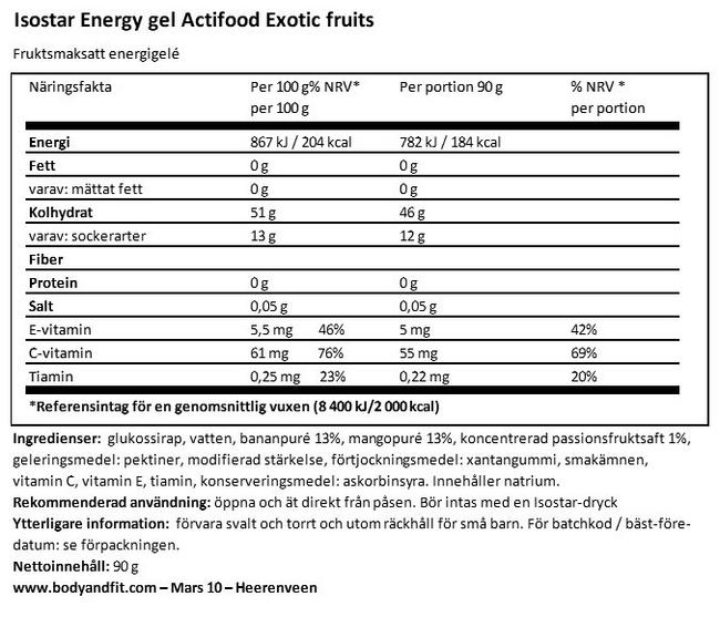 Fruit Gel Energy Actifood Nutritional Information 1