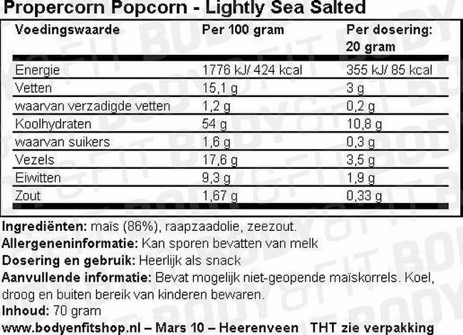 Propercorn Popcorn Nutritional Information 1