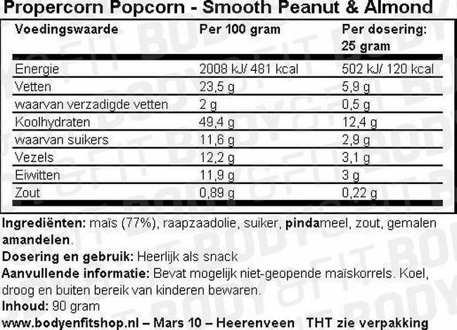 Propercorn Popcorn Nutritional Information 2