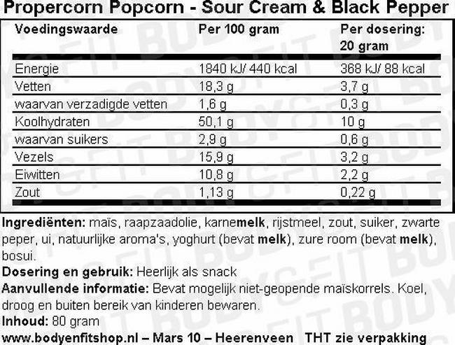 Propercorn Popcorn Nutritional Information 3