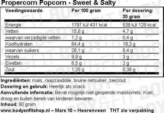 Propercorn Popcorn Nutritional Information 4