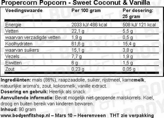 Propercorn Popcorn Nutritional Information 5