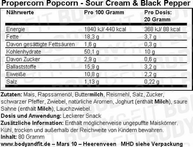 Propercorn Popcorn Nutritional Information 9