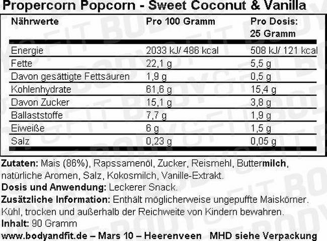 Propercorn Popcorn Nutritional Information 11