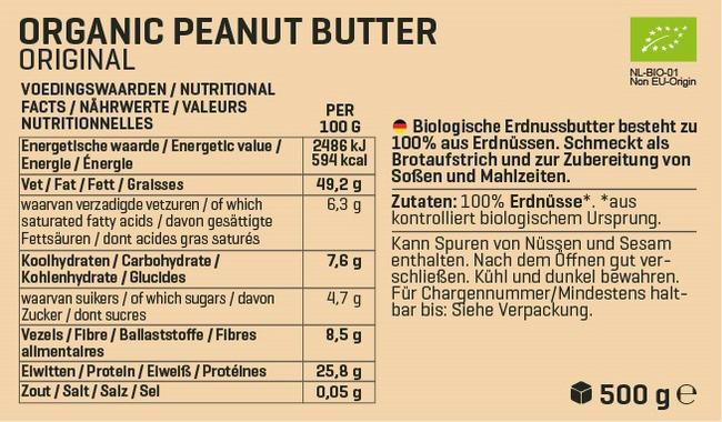 Biologische Erdnussbutter Nutritional Information 1