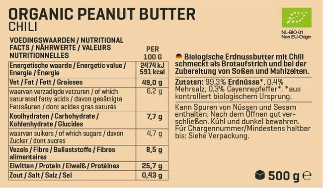Biologische Erdnussbutter Nutritional Information 2