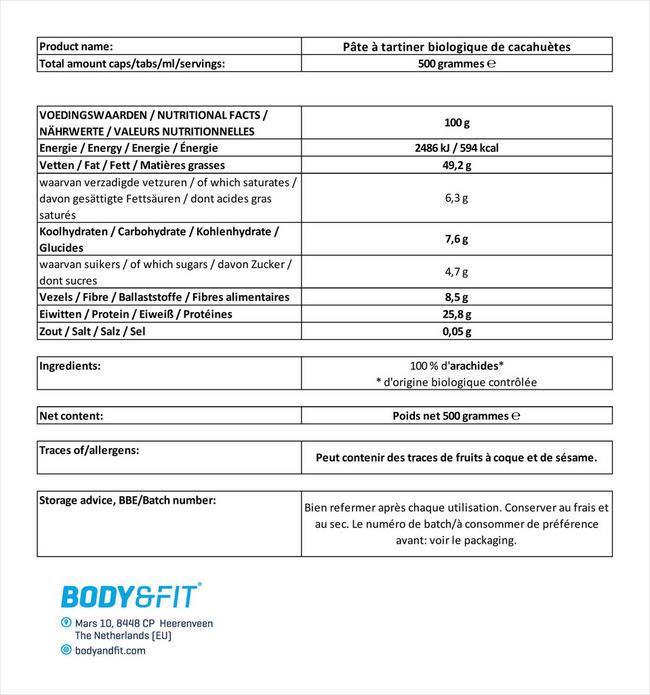 Pâte à tartiner biologique de cacahuètes Nutritional Information 1