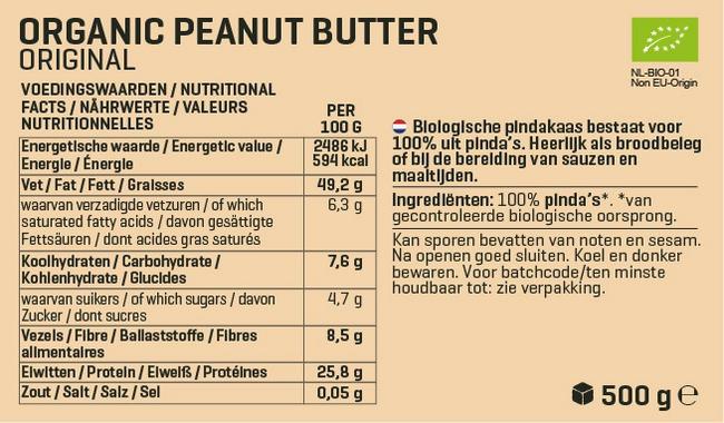 Biologische Pindapasta Nutritional Information 1