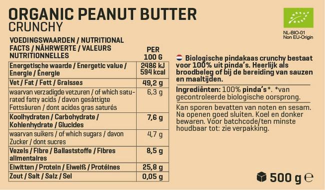 Biologische Pindapasta Nutritional Information 2