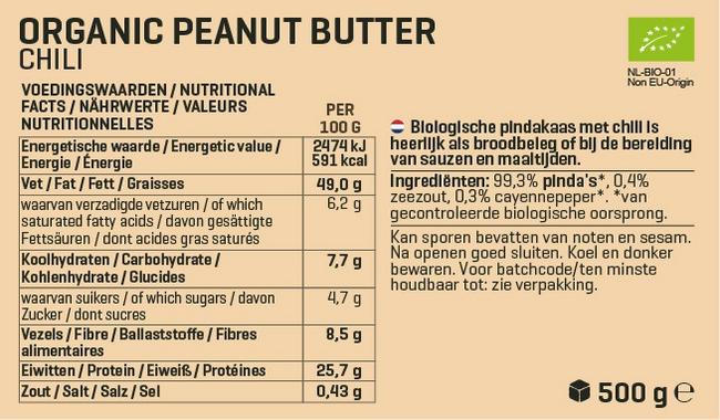Biologische Pindapasta Nutritional Information 3