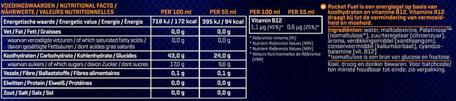 Rocket Fuel Energy Gel Nutritional Information 1
