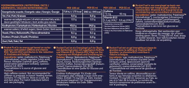 Rocket Fuel Energy Gel Nutritional Information 3