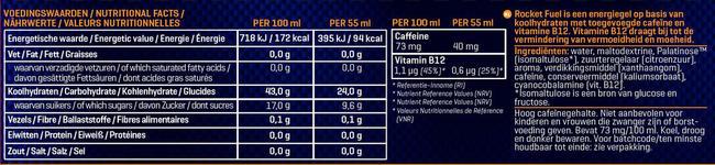 Rocket Fuel Energy Gel Nutritional Information 2