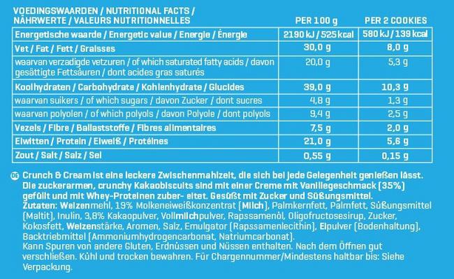 Crunch & Cream Cookies Nutritional Information 1