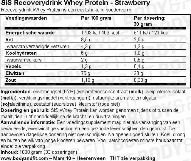 SiS Recoverydrink Whey Protein Nutritional Information 1