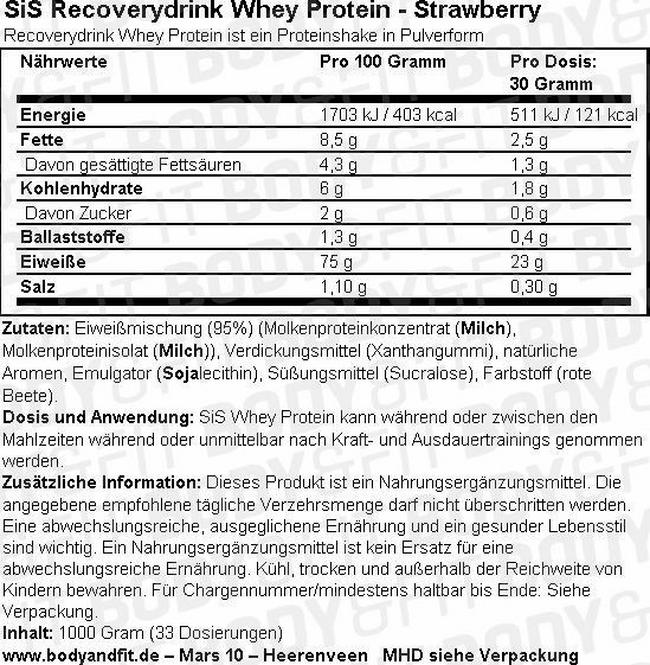 SiS Recoverydrink Whey Protein Nutritional Information 3