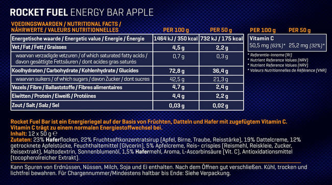 Rocket Fuel Energy Bars Nutritional Information 1