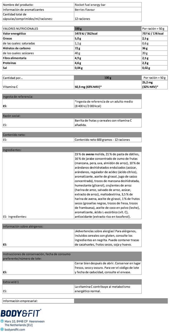 Rocket Fuel Energy Bar Nutritional Information 1
