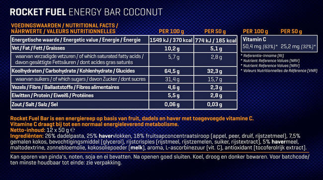 Rocket Fuel Energy Bars Nutritional Information 2