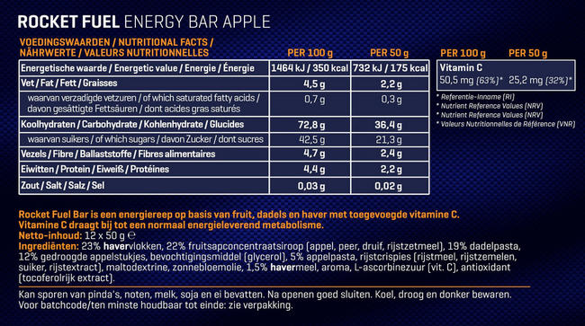 Rocket Fuel Energy Bars Nutritional Information 3