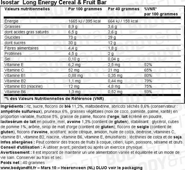 Long Energy Cereal & Fruit Bar Nutritional Information 2