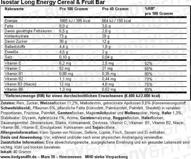 Long Energy Cereal & Fruit Bar Nutritional Information 1