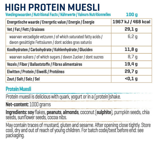 High Protein Müsli (reduced carb) Nutritional Information 1