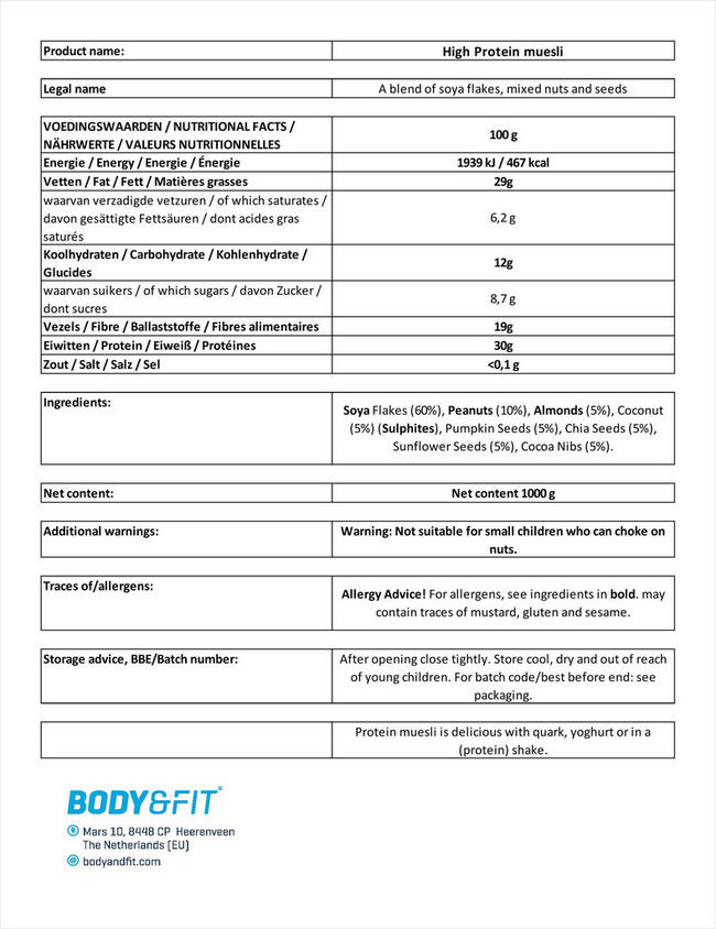 High Protein Müsli (reduced carb) Nutritional Information 2