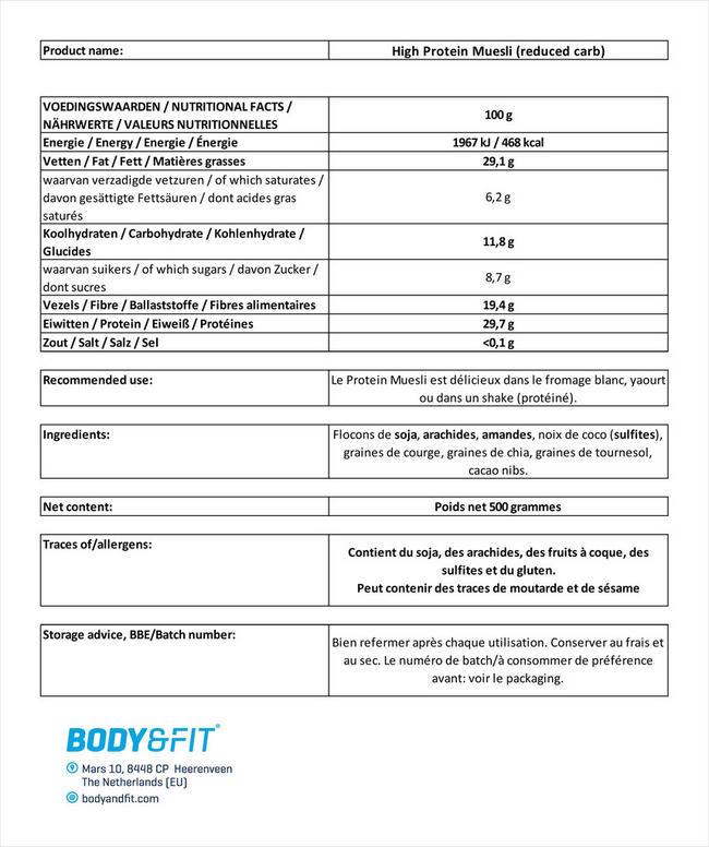 High Protein Müsli (reduced carb) Nutritional Information 3