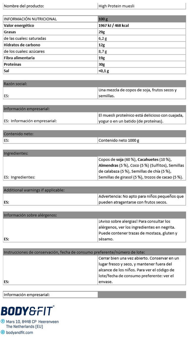 Muesli rico en Proteína Nutritional Information 1
