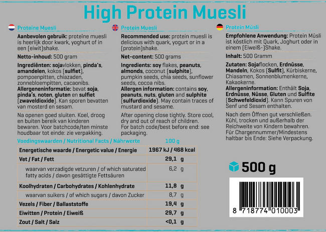 High Protein Muesli (reduced carb) Nutritional Information 1