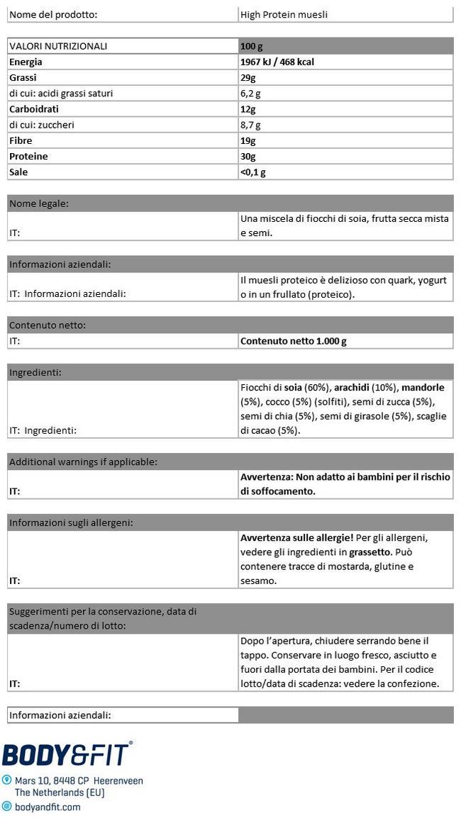 High Protein Muesli Nutritional Information 1