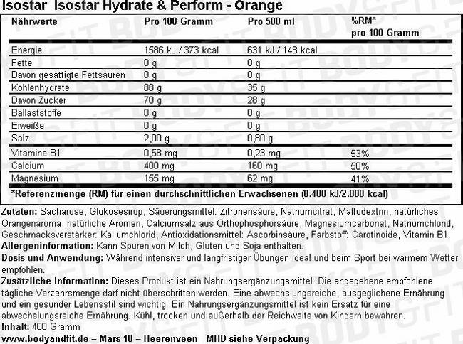 Isostar Hydrate & Perform Nutritional Information 1
