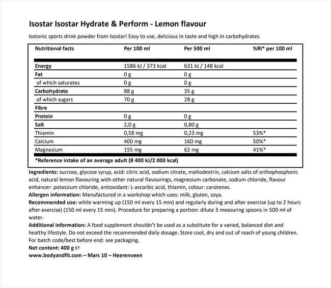 하이드레이트 & 퍼폼 Nutritional Information 1