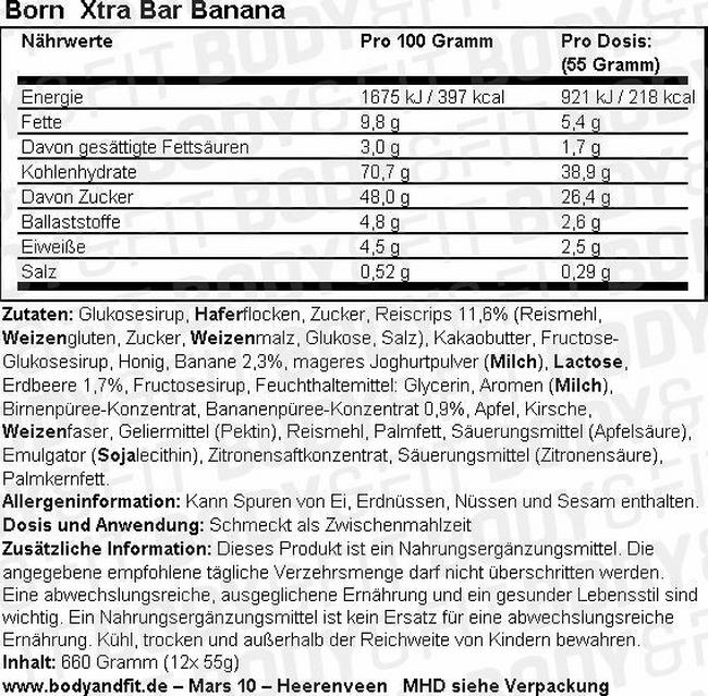 Born Xtra Bar Nutritional Information 1