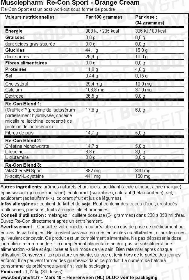 Re-Con Sport Nutritional Information 1