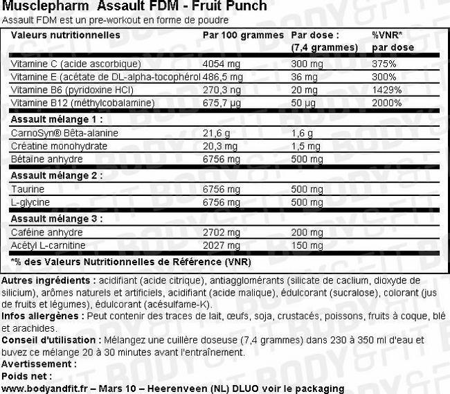 Assault FDM Nutritional Information 1