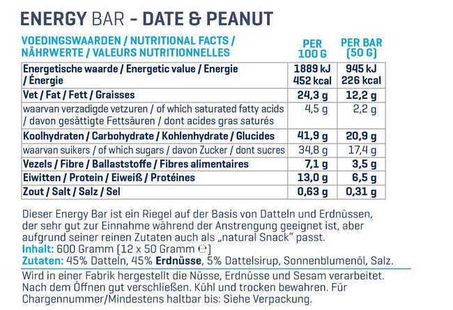 Energy Bars Nutritional Information 1