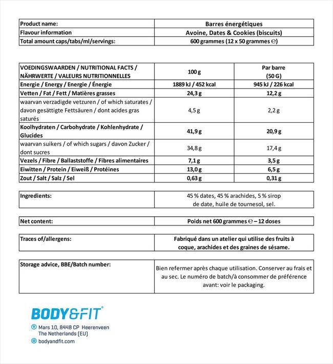 Barres énergétiques Nutritional Information 1
